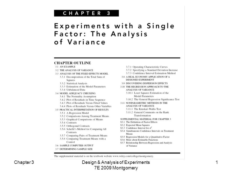 Exemplo Usando os dados do exemplo taxa de gravação vs potência e o R, teste as seguintes hipóteses: Chapter 3Design & Analysis of Experiments 7E 2009 Montgomery 22