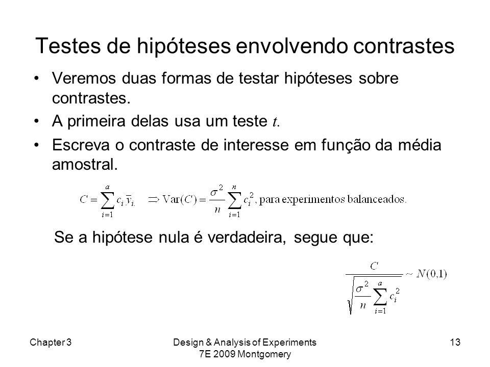 Testes de hipóteses envolvendo contrastes Veremos duas formas de testar hipóteses sobre contrastes. A primeira delas usa um teste t. Escreva o contras