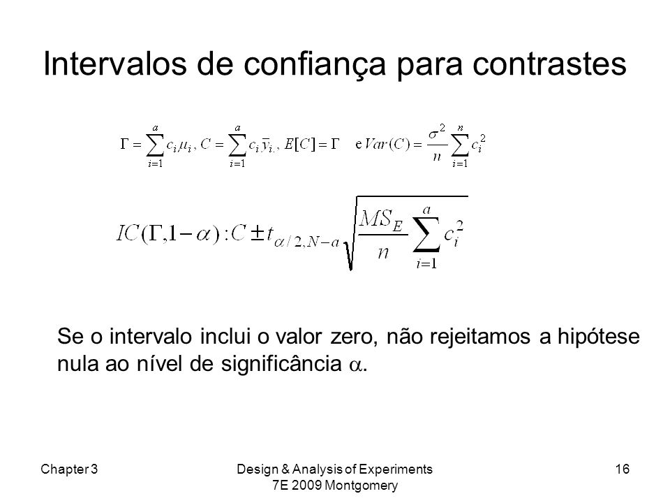 Intervalos de confiança para contrastes Chapter 3Design & Analysis of Experiments 7E 2009 Montgomery 16 Se o intervalo inclui o valor zero, não rejeit