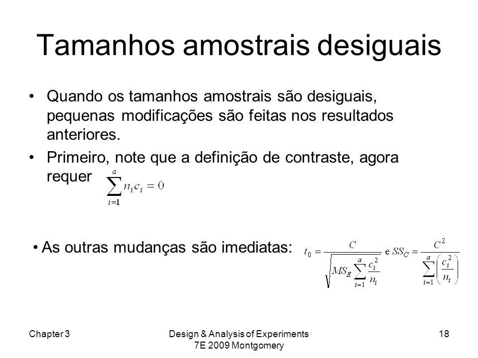 Tamanhos amostrais desiguais Quando os tamanhos amostrais são desiguais, pequenas modificações são feitas nos resultados anteriores. Primeiro, note qu