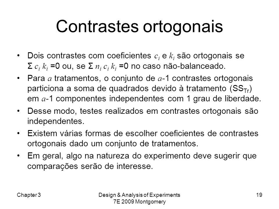 Contrastes ortogonais Dois contrastes com coeficientes c i e k i são ortogonais se Σ c i k i =0 ou, se Σ n i c i k i =0 no caso não-balanceado. Para a