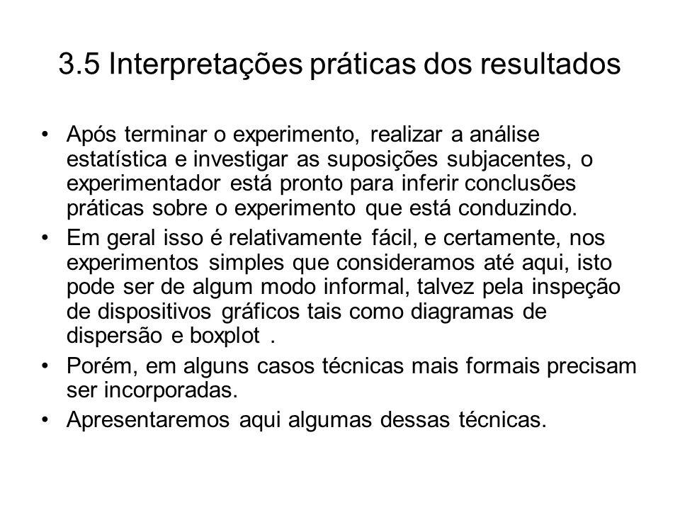 3.5 Interpretações práticas dos resultados Após terminar o experimento, realizar a análise estatística e investigar as suposições subjacentes, o exper