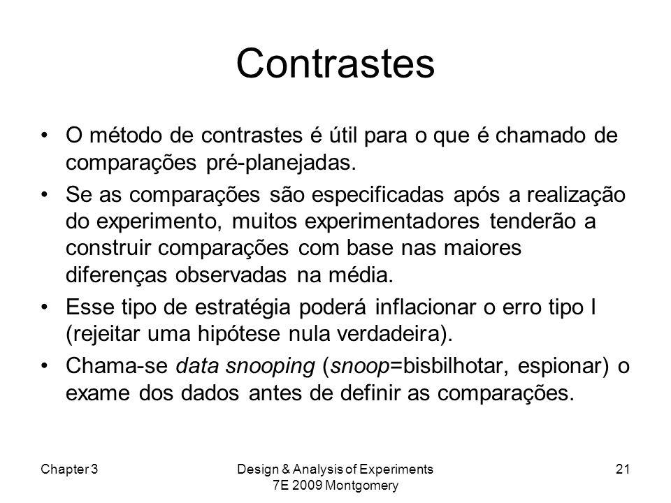 Contrastes O método de contrastes é útil para o que é chamado de comparações pré-planejadas. Se as comparações são especificadas após a realização do