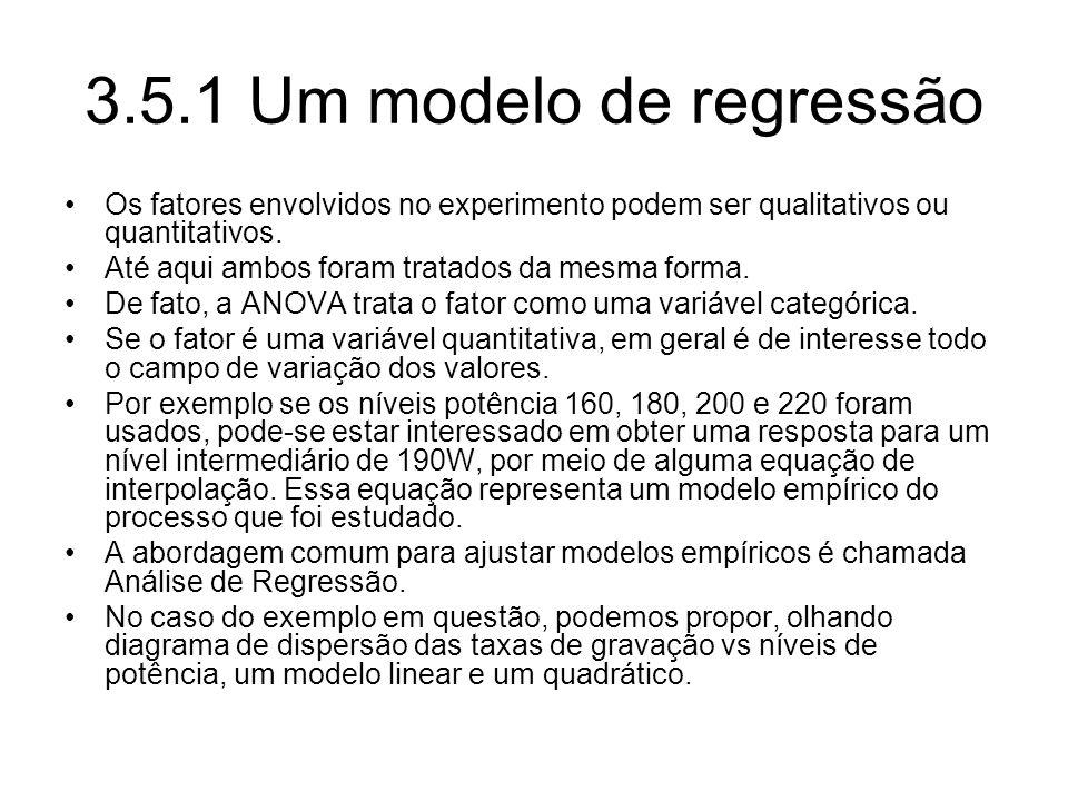 3.5.1 Um modelo de regressão Os fatores envolvidos no experimento podem ser qualitativos ou quantitativos. Até aqui ambos foram tratados da mesma form