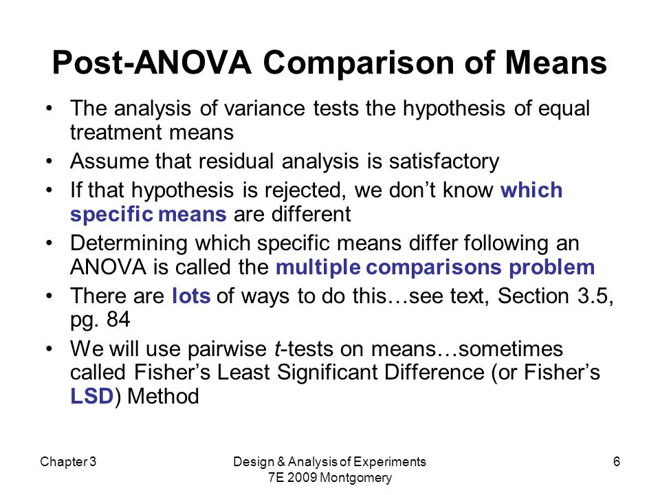 Comparações entre as médias de tratamento Suponha que a hipótese nula, de médias de tratamento iguais, foi rejeitada.