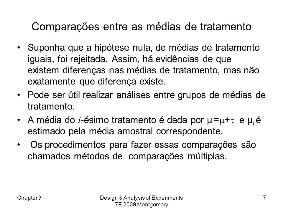 Comparações entre as médias de tratamento Suponha que a hipótese nula, de médias de tratamento iguais, foi rejeitada. Assim, há evidências de que exis