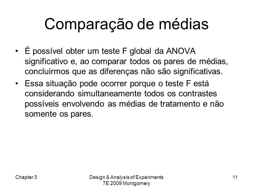 Comparação de médias É possível obter um teste F global da ANOVA significativo e, ao comparar todos os pares de médias, concluirmos que as diferenças