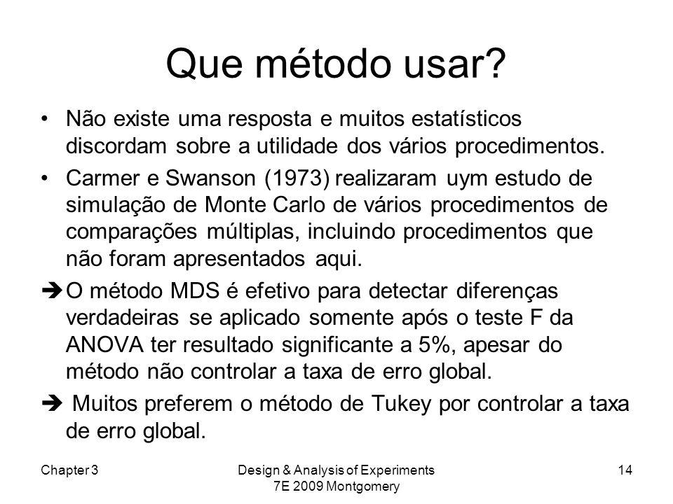 Que método usar? Não existe uma resposta e muitos estatísticos discordam sobre a utilidade dos vários procedimentos. Carmer e Swanson (1973) realizara