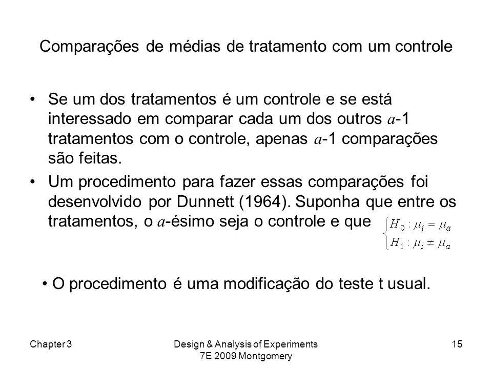 Comparações de médias de tratamento com um controle Se um dos tratamentos é um controle e se está interessado em comparar cada um dos outros a -1 trat