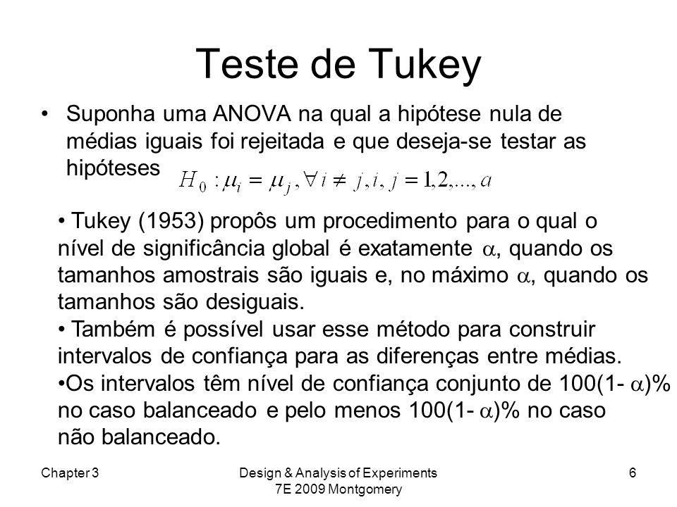 Teste de Tukey Suponha uma ANOVA na qual a hipótese nula de médias iguais foi rejeitada e que deseja-se testar as hipóteses Chapter 3Design & Analysis