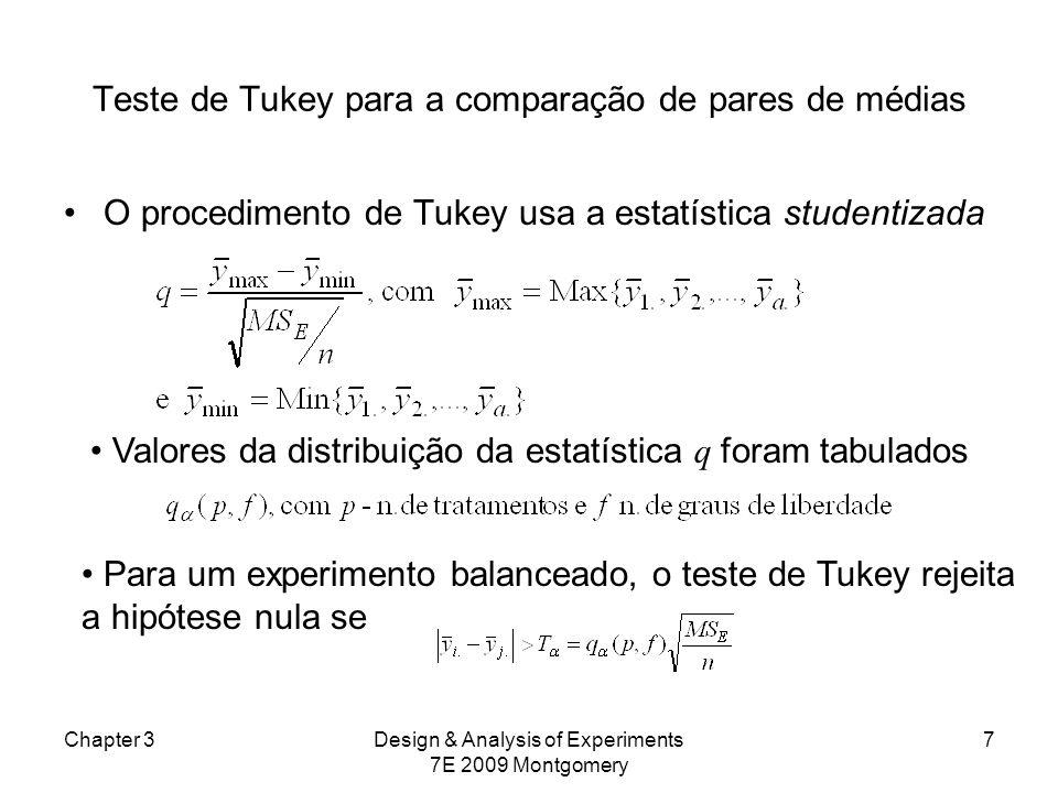 Teste de Tukey para a comparação de pares de médias Equivalentemente, podemos construir intervalos de confiança de 100(1- )% para todos os pares dados por Chapter 3Design & Analysis of Experiments 7E 2009 Montgomery 8 Quando as amostras são não balanceadas