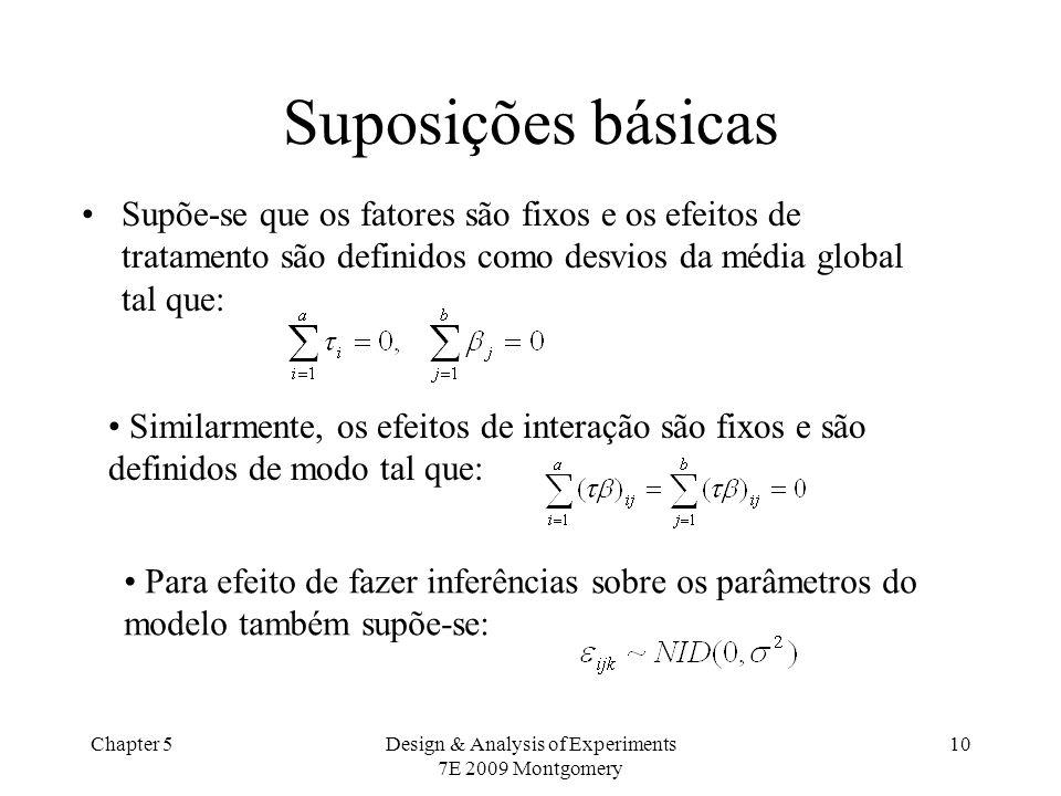 Chapter 5Design & Analysis of Experiments 7E 2009 Montgomery 10 Suposições básicas Supõe-se que os fatores são fixos e os efeitos de tratamento são de