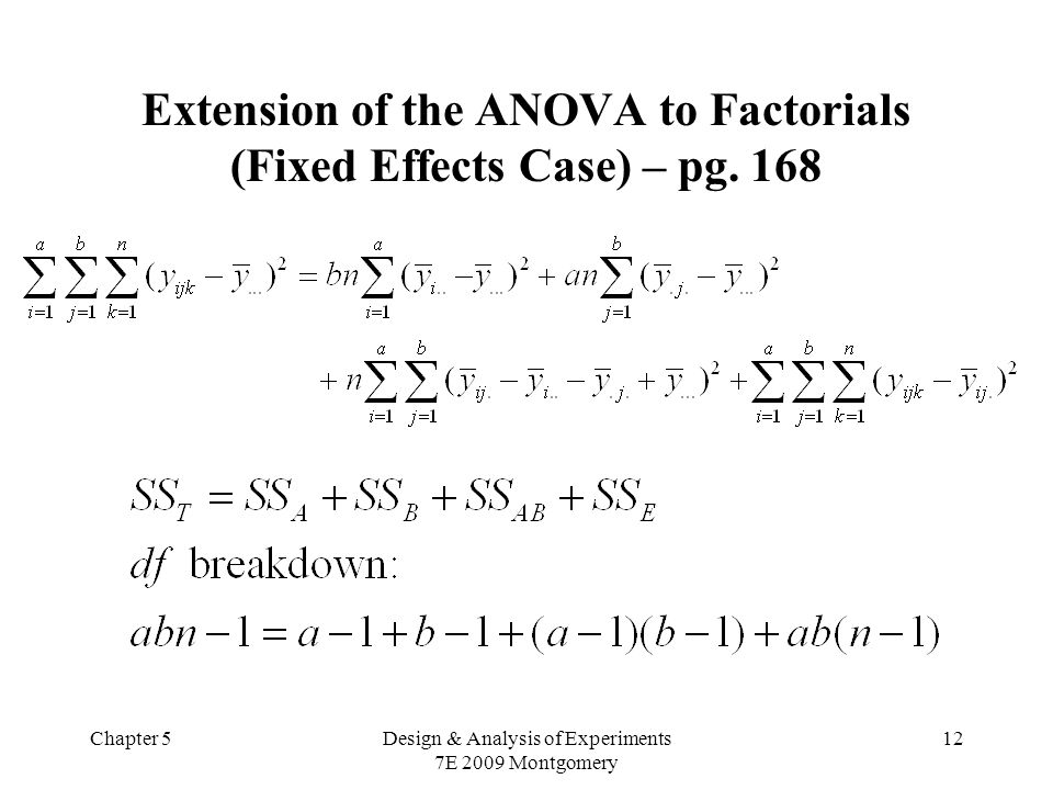 Chapter 5Design & Analysis of Experiments 7E 2009 Montgomery 12 Extension of the ANOVA to Factorials (Fixed Effects Case) – pg.