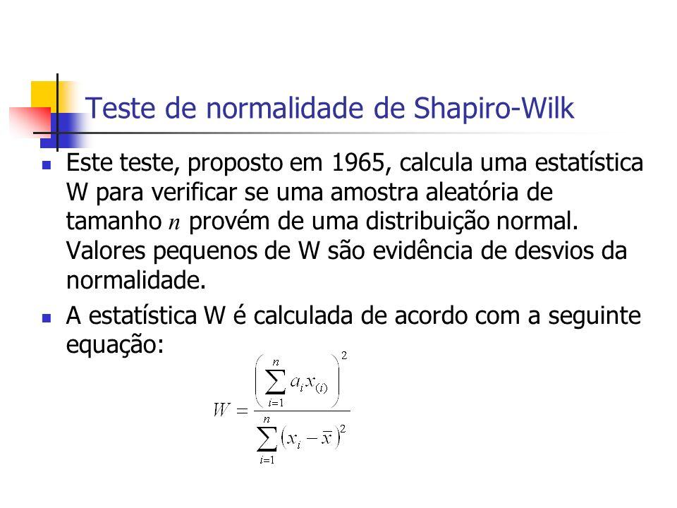 Teste de normalidade de Shapiro-Wilk Este teste, proposto em 1965, calcula uma estatística W para verificar se uma amostra aleatória de tamanho n prov