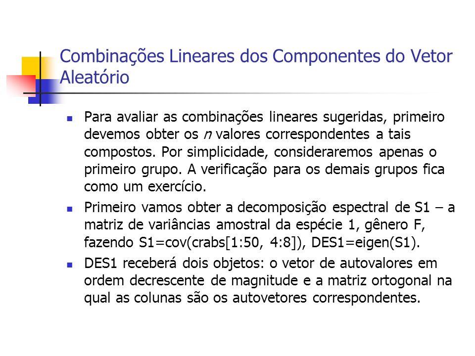 Combinações Lineares dos Componentes do Vetor Aleatório Para avaliar as combinações lineares sugeridas, primeiro devemos obter os n valores correspond