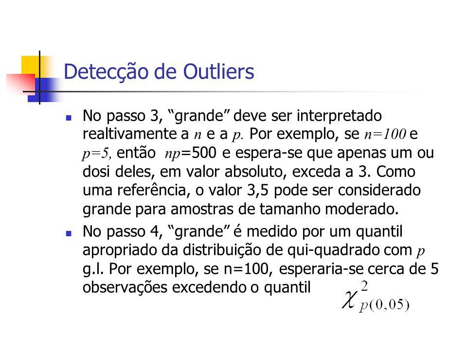 Detecção de Outliers No passo 3, grande deve ser interpretado realtivamente a n e a p. Por exemplo, se n=100 e p=5, então np =500 e espera-se que apen
