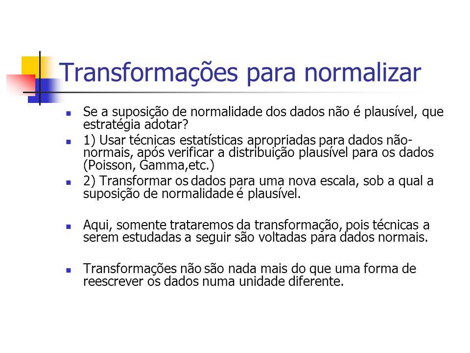 Transformações para normalizar Se a suposição de normalidade dos dados não é plausível, que estratégia adotar? 1) Usar técnicas estatísticas apropriad