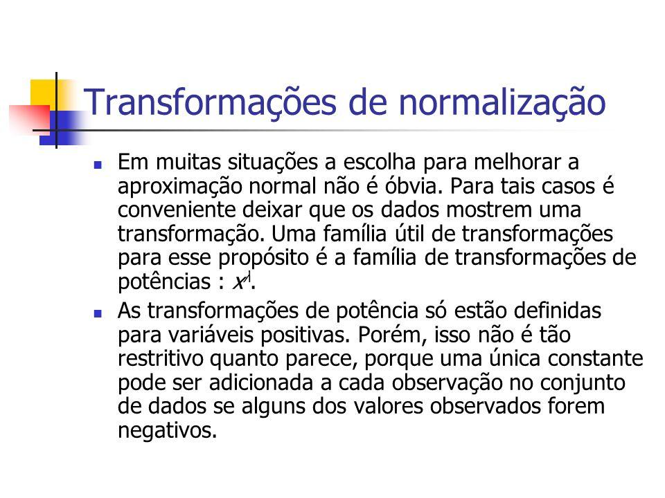 Transformações de normalização Em muitas situações a escolha para melhorar a aproximação normal não é óbvia. Para tais casos é conveniente deixar que