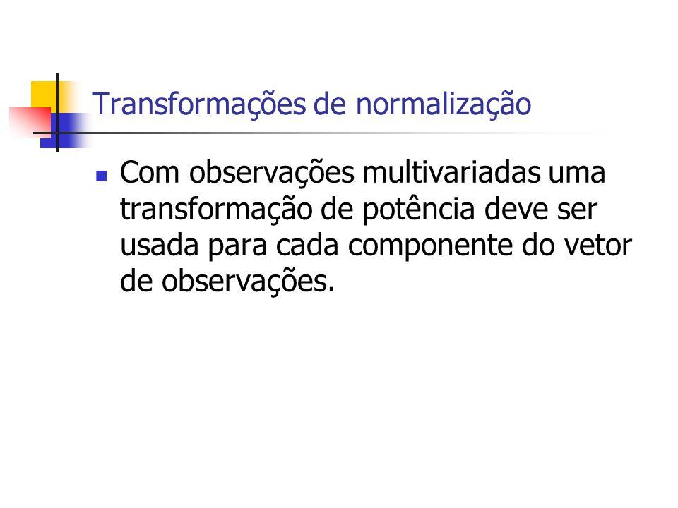 Transformações de normalização Com observações multivariadas uma transformação de potência deve ser usada para cada componente do vetor de observações