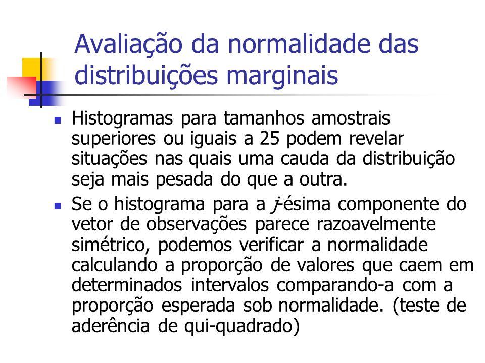 Avaliação da normalidade das distribuições marginais Por exemplo, numa distribuição normal univariada a probabilidade de um valor cair no intervalo centrado na média de comprimento igual a dois desvios padrão é cerca de 68%; a probabilidade de um valor cair no intervalo centrado na média de comprimento igual a 4 desvios padrão é cerca de 95%; etc.