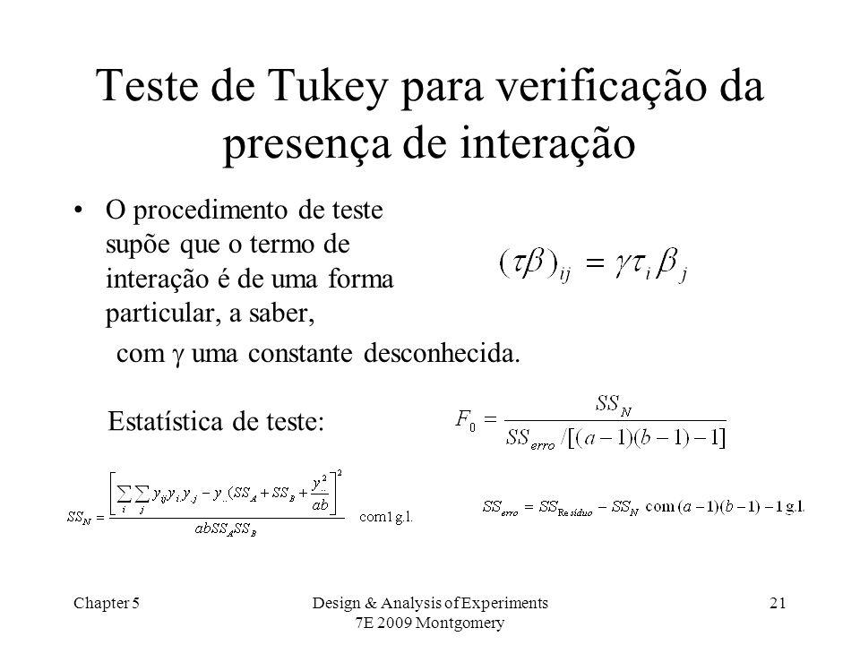 Chapter 5Design & Analysis of Experiments 7E 2009 Montgomery 21 Teste de Tukey para verificação da presença de interação O procedimento de teste supõe