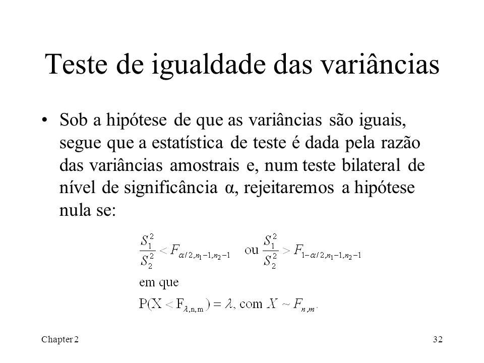 Chapter 232 Teste de igualdade das variâncias Sob a hipótese de que as variâncias são iguais, segue que a estatística de teste é dada pela razão das variâncias amostrais e, num teste bilateral de nível de significância α, rejeitaremos a hipótese nula se: