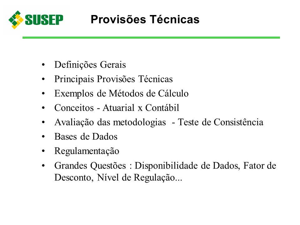 Definições Gerais Principais Provisões Técnicas Exemplos de Métodos de Cálculo Conceitos - Atuarial x Contábil Avaliação das metodologias - Teste de C