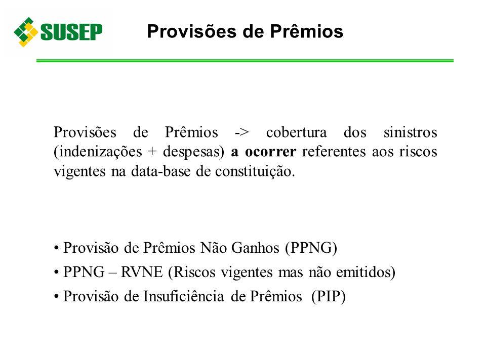 Provisões de Prêmios -> cobertura dos sinistros (indenizações + despesas) a ocorrer referentes aos riscos vigentes na data-base de constituição. Provi