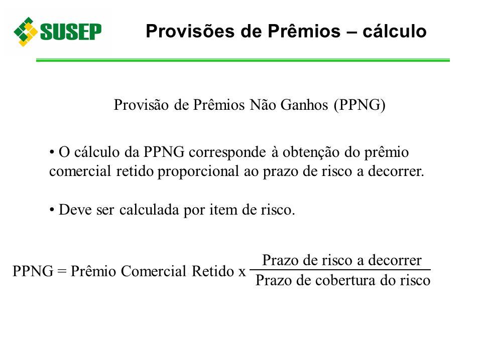 Provisão de Prêmios Não Ganhos (PPNG) O cálculo da PPNG corresponde à obtenção do prêmio comercial retido proporcional ao prazo de risco a decorrer. D
