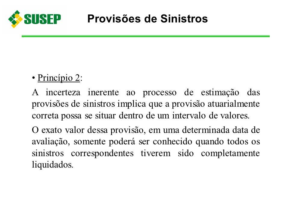 Princípio 2: A incerteza inerente ao processo de estimação das provisões de sinistros implica que a provisão atuarialmente correta possa se situar den
