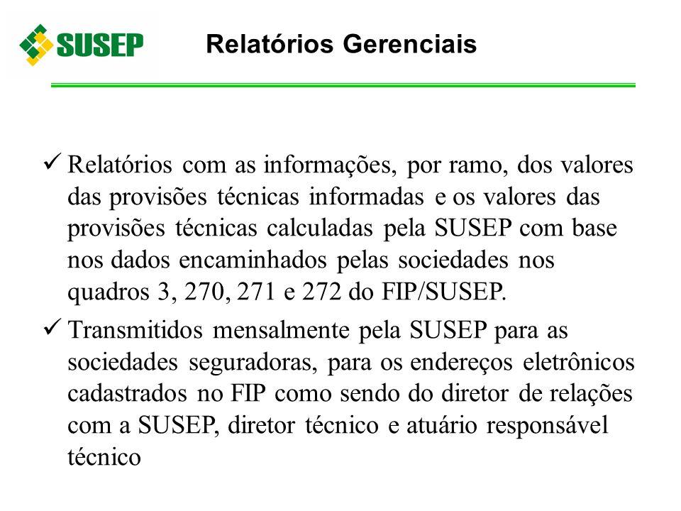 Relatórios com as informações, por ramo, dos valores das provisões técnicas informadas e os valores das provisões técnicas calculadas pela SUSEP com b
