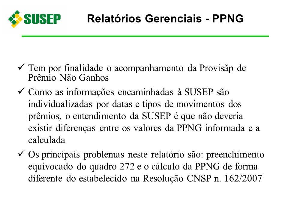 Tem por finalidade o acompanhamento da Provisãp de Prêmio Não Ganhos Como as informações encaminhadas à SUSEP são individualizadas por datas e tipos d