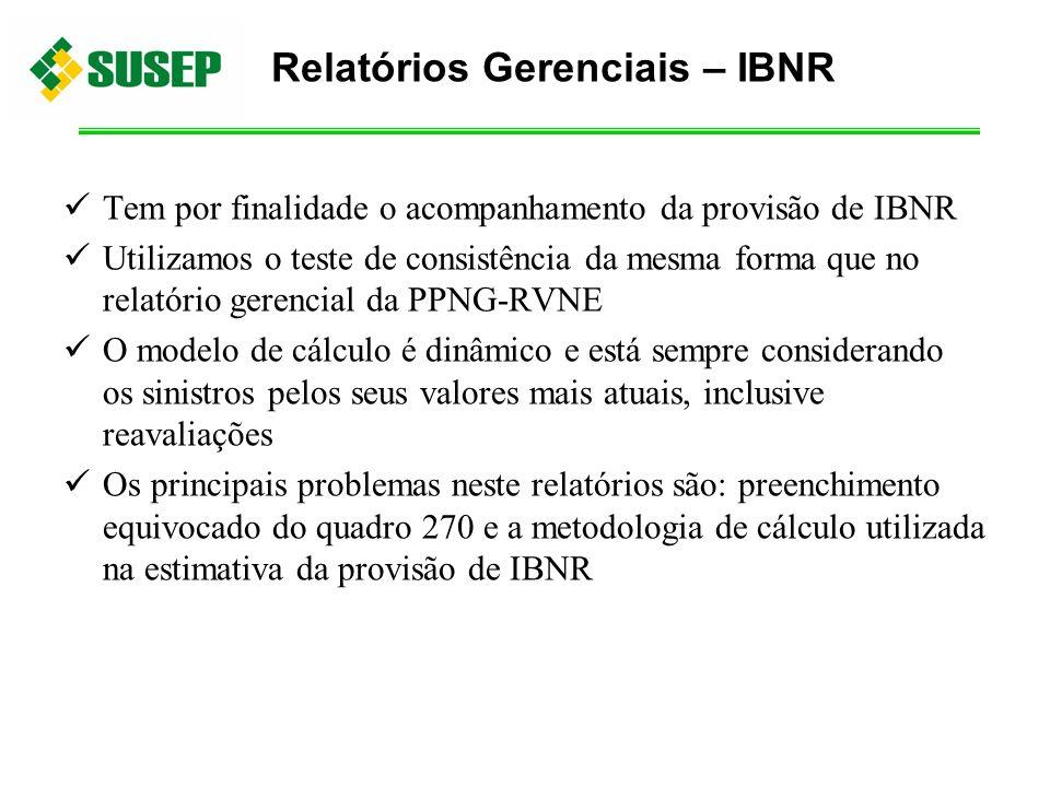 Tem por finalidade o acompanhamento da provisão de IBNR Utilizamos o teste de consistência da mesma forma que no relatório gerencial da PPNG-RVNE O mo