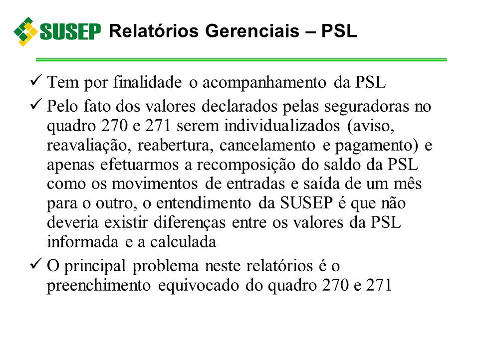 Tem por finalidade o acompanhamento da PSL Pelo fato dos valores declarados pelas seguradoras no quadro 270 e 271 serem individualizados (aviso, reava