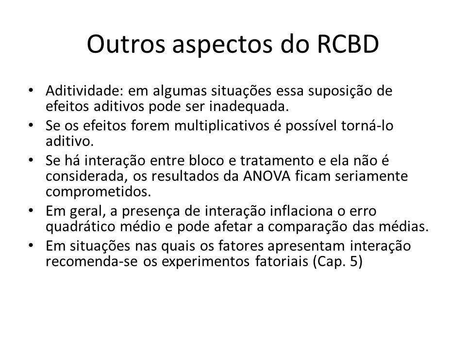 Outros aspectos do RCBD Aditividade: em algumas situações essa suposição de efeitos aditivos pode ser inadequada. Se os efeitos forem multiplicativos