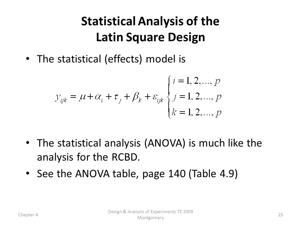 Chapter 4 Design & Analysis of Experiments 7E 2009 Montgomery 25 Statistical Analysis of the Latin Square Design The statistical (effects) model is Th