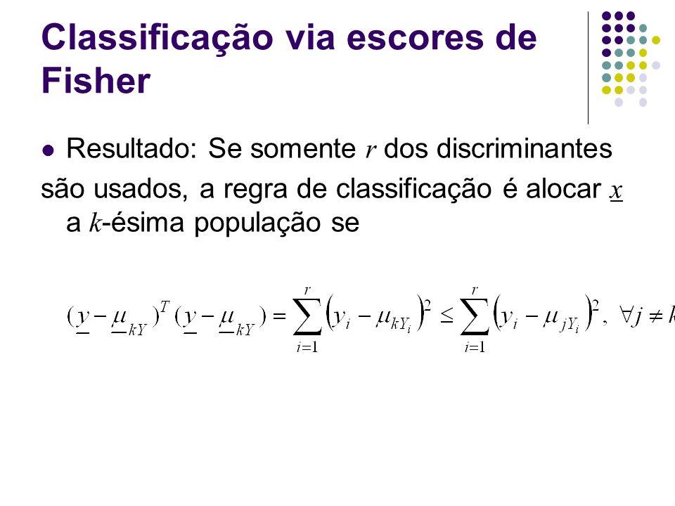 Classificação via escores de Fisher Resultado: Se somente r dos discriminantes são usados, a regra de classificação é alocar x a k -ésima população se
