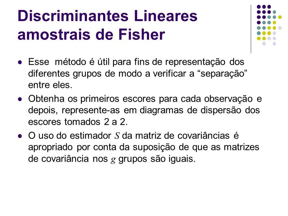 Discriminantes Lineares amostrais de Fisher Esse método é útil para fins de representação dos diferentes grupos de modo a verificar a separação entre