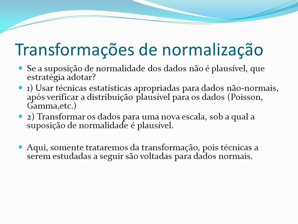 Transformações úteis Escala originalEscala transformada Contagens (y) Proporções ( Correlações (r)Fisher