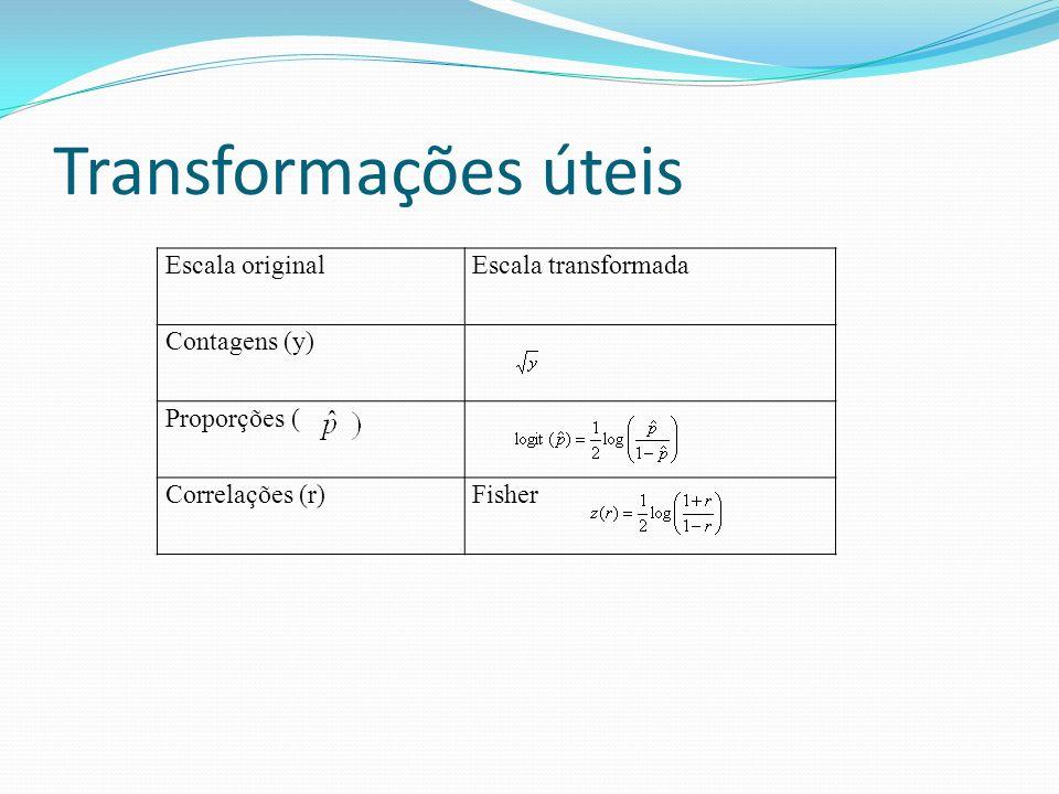Transformações de normalização Em muitas situações a escolha para melhorar a aproximação normal não é óbvia.