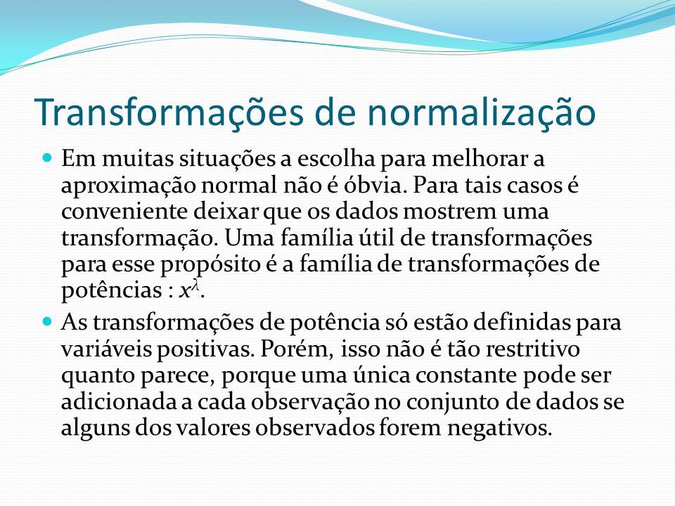 Transformações de normalização Box e Cox consideraram a seguinte família de transformações de potência modificada: que é contínua em λ para x>0.
