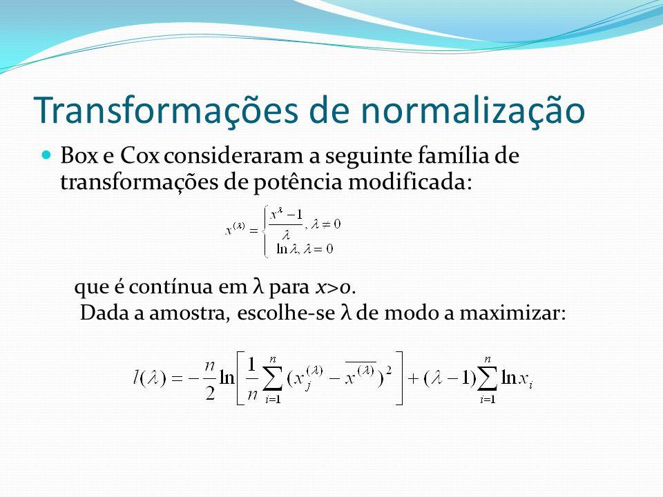 Transformações de normalização Box e Cox consideraram a seguinte família de transformações de potência modificada: que é contínua em λ para x>0. Dada
