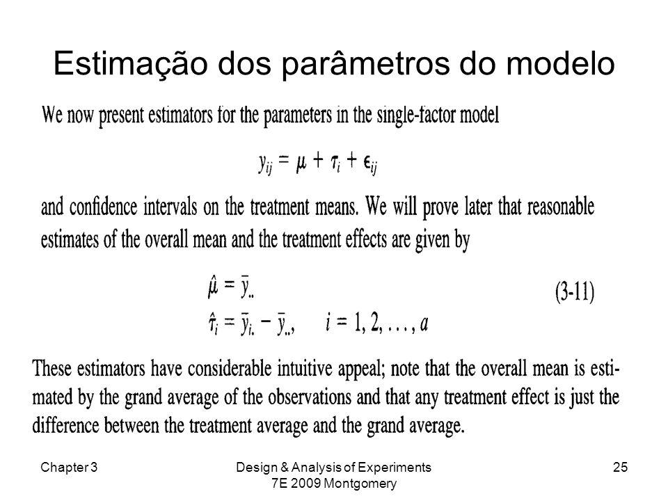 Estimação dos parâmetros do modelo Chapter 3Design & Analysis of Experiments 7E 2009 Montgomery 25