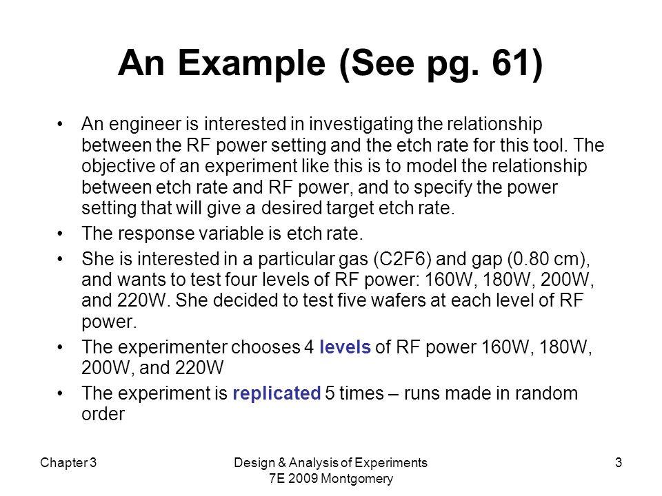 Chapter 3Design & Analysis of Experiments 7E 2009 Montgomery 24 summary(aov(dados$y~dados$rf)) Df Sum Sq Mean Sq F value Pr(>F) dados$rf 3 66871 22290 66.797 2.883e-09 *** Residuals 16 5339 334 --- Signif.