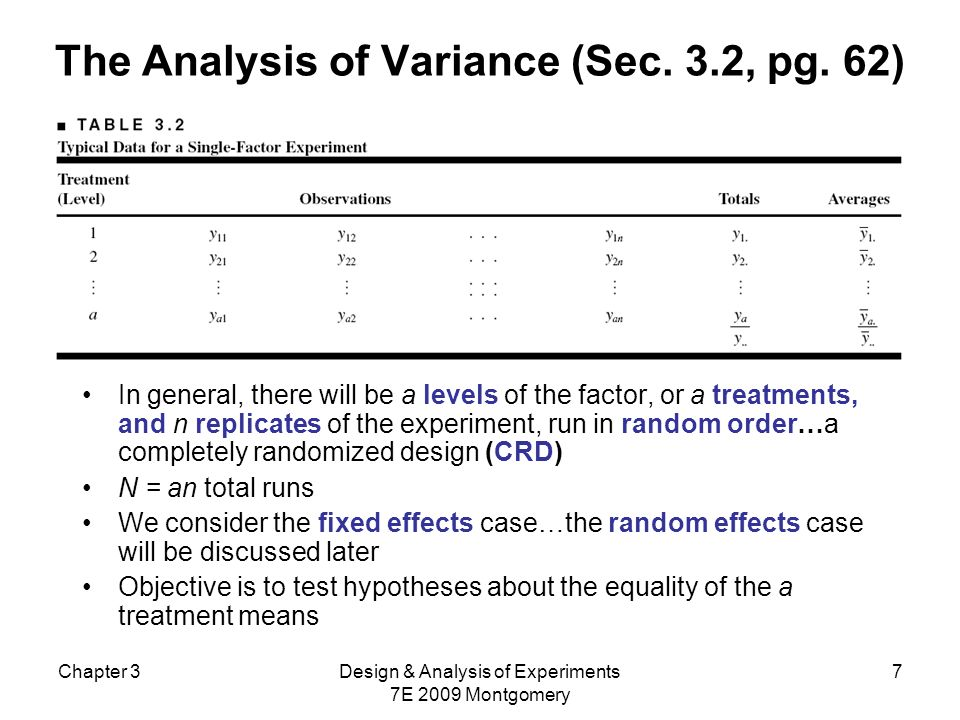 Chapter 3Design & Analysis of Experiments 7E 2009 Montgomery 8 The Analysis of Variance The name analysis of variance stems from a partitioning of the total variability in the response variable into components that are consistent with a model for the experiment The basic single-factor ANOVA model is
