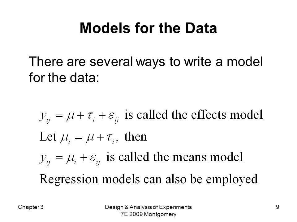 Chapter 3Design & Analysis of Experiments 7E 2009 Montgomery 10 Efeitos fixos ou efeitos aleatórios.