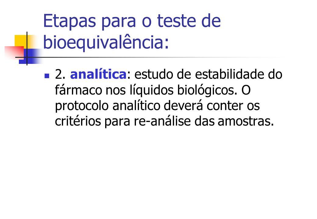 Etapas para o teste de bioequivalência: 2. analítica: estudo de estabilidade do fármaco nos líquidos biológicos. O protocolo analítico deverá conter o