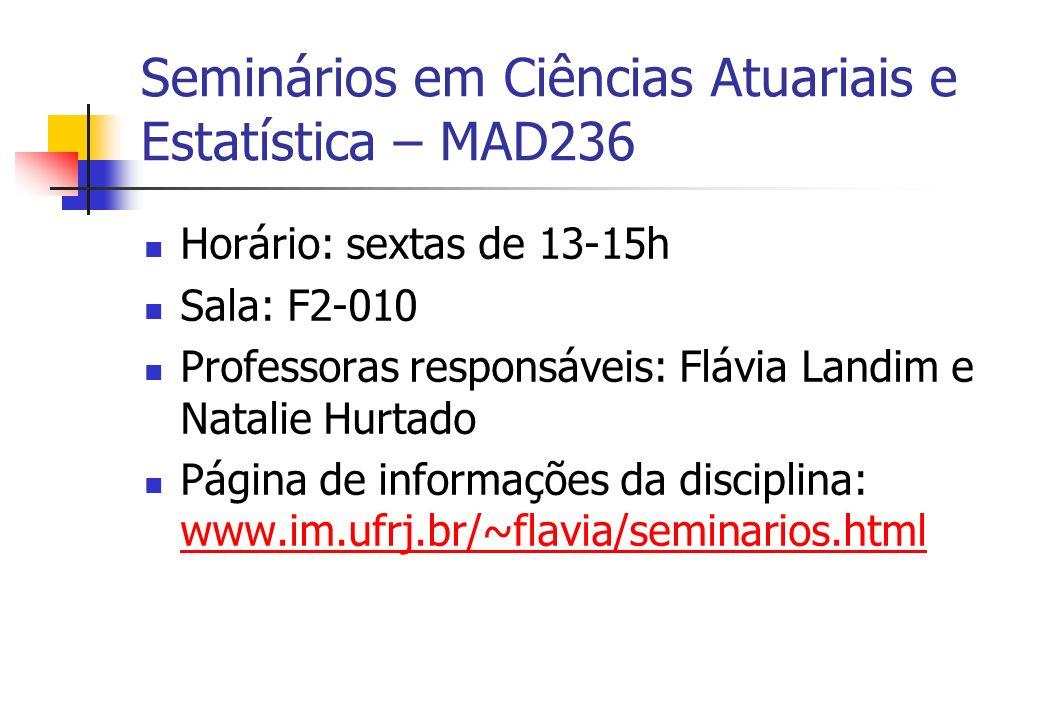 Seminários em Ciências Atuariais e Estatística – MAD236 Horário: sextas de 13-15h Sala: F2-010 Professoras responsáveis: Flávia Landim e Natalie Hurta