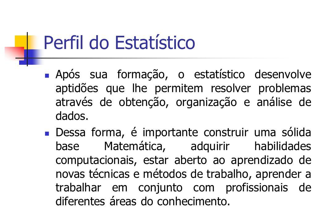 Perfil do Estatístico Após sua formação, o estatístico desenvolve aptidões que lhe permitem resolver problemas através de obtenção, organização e anál