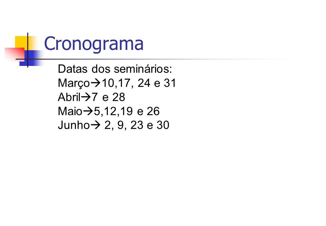 Cronograma Datas dos seminários: Março 10,17, 24 e 31 Abril 7 e 28 Maio 5,12,19 e 26 Junho 2, 9, 23 e 30